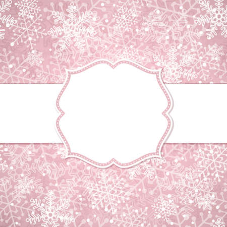 blanc: The Christmas frame on the background of snowflakes. Vector illustration.