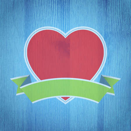 Valentines Day background. Heart on the wooden texture. Vector illustration. Vector