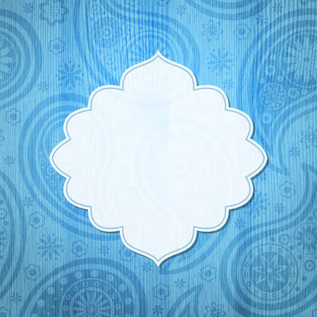 Frame in the Indian style on the wooden background with paisley pattern. Vector illustration. Vector
