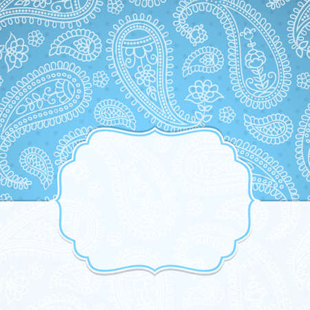 eps10 vector: Frame in the Indian style on the background with paisley pattern. Vector illustration. Eps10 (Transparency effects).