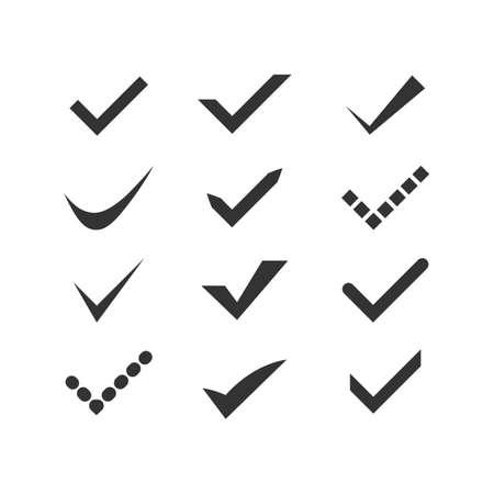 confirm: Black confirm icons set.