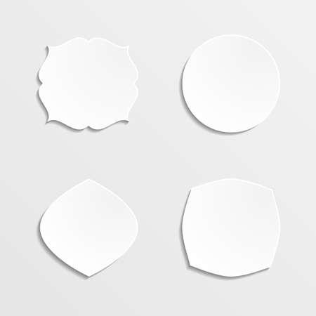 blanc: Conjunto de marcos blancos sobre un fondo gris. Ilustraci�n del vector.