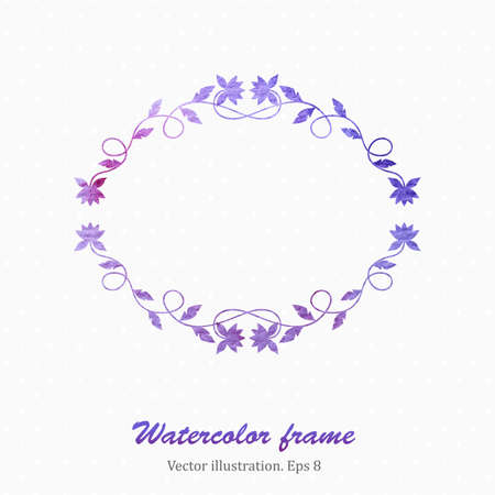 blanc: Watercolor floral frame in retro style. Vector illustration.