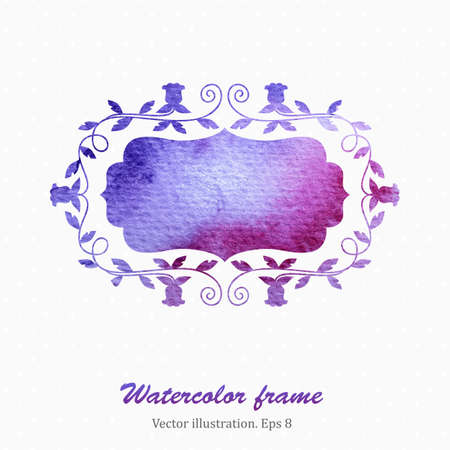 blanc: Watercolor floral frame in retro style. Vector illustration. Eps8