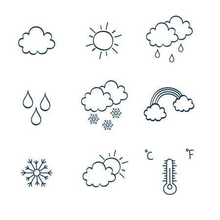simbols: Set of hand-drawn weather simbols. Vector illustration.