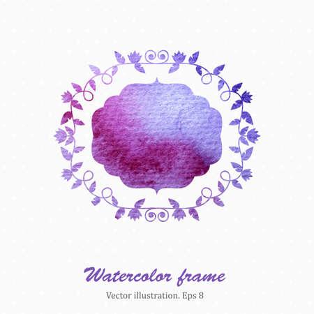 blanc: Marco de la acuarela floral en estilo retro. Ilustraci�n del vector. Eps8