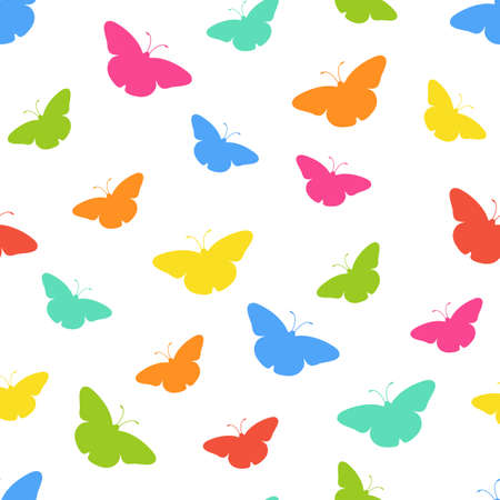 web2: Seamless background with multi-colored butterflies. Vector illustration.