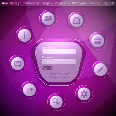 site backgrounds: Login form with  Web Icon on a triangular geometric modern background. Vector illustration.