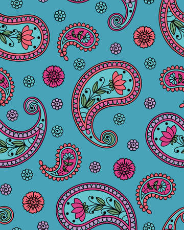blue green: Seamless background with paisley pattern. Vector illustration. Illustration