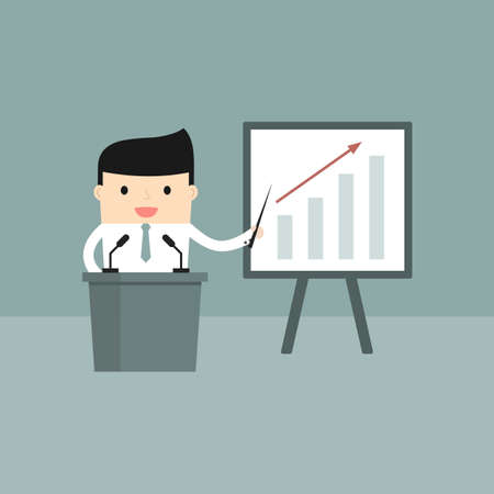 financial consultant: Business situation. Businessman presents a growth chart. Vector illustration. Illustration