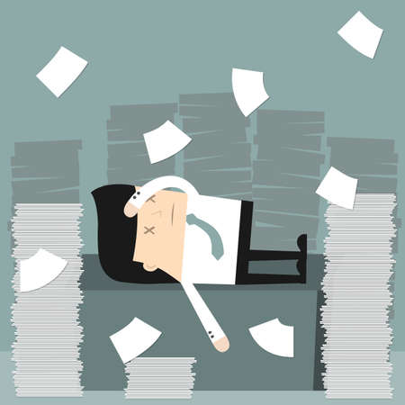 overworked: Business situation. Businessman in the office Businessman in office littered with a bunch of papers. Vector illustration.
