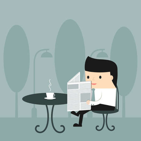 outdoor cafe: Business situation. Businessman reading a newspaper with a cup of coffee at an outdoor cafe. Vector illustration.