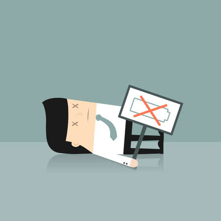 blockage: Business situation. Tired businessman is holding a sign No battery. Vector illustration.