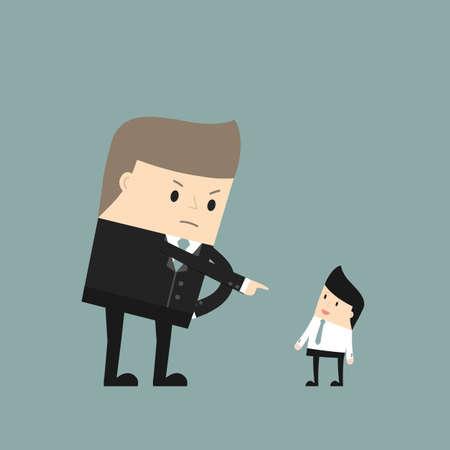 Bedrijfssituatie. Boze werkgever wijst op de werknemer. Vector illustratie.