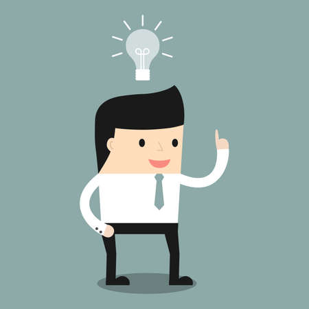 new idea: Business situation. Businessman get a new idea. Vector illustration. Illustration