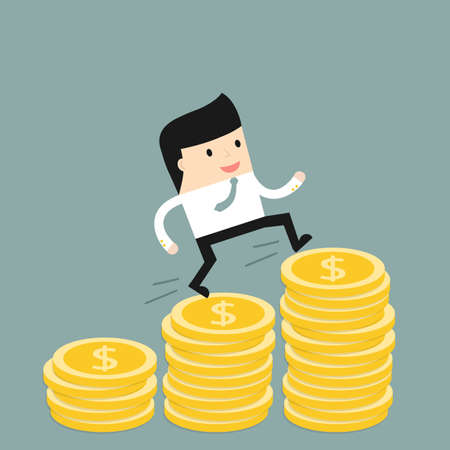 financial consultant: Business situation. Businessman climbs the stairs of money. Symbol of revenue growth. Vector illustration. Illustration
