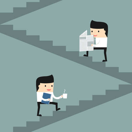 office staff: Business situation. The office staff climb the stairs. Vector illustration.