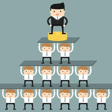 corporate hierarchy: Situazione aziendale. Gerarchia aziendale in azienda. Illustrazione vettoriale.