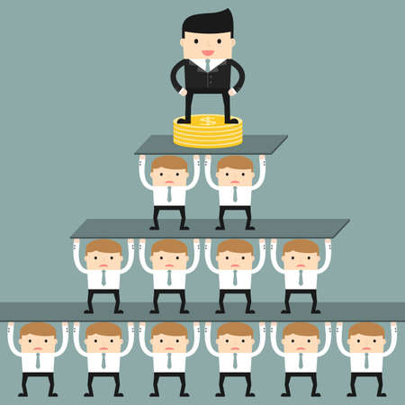Business situation. Corporate hierarchy in the company. Vector illustration. Illustration