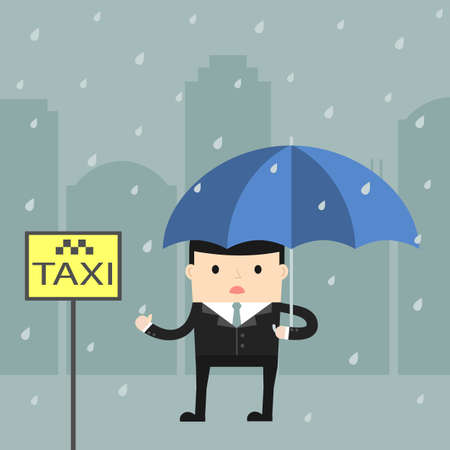 Business situation. Businessman catching a taxi in the rain. Vector illustration. Illustration