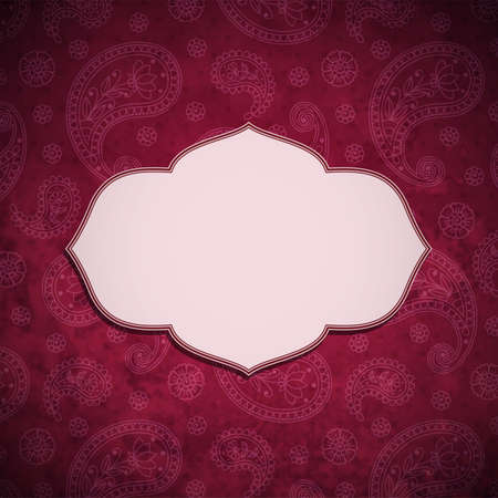 saffron: Frame in the Indian style in the background with paisley pattern. Vector illustration.
