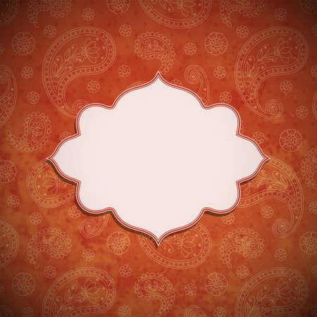 indische muster: Rahmen in der indischen Stil im Hintergrund mit Paisley-Muster. Vektor-Illustration.