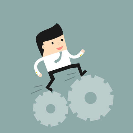 situation: Business situation. Businessman runs on gears. Vector illustration.