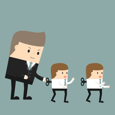 boss: Business situation. The boss sets up workers. Symbol management of the company. Vector illustration.