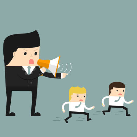 Business situation. Boss commanding officers into a megaphone. Employees run work. Vector illustration.