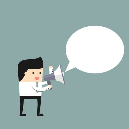 speaks: Businessman speaks in a megaphone.. Vector illustration.