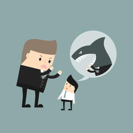 Situation de l'entreprise. Angry boss criant à l'employé. Vector illustration.