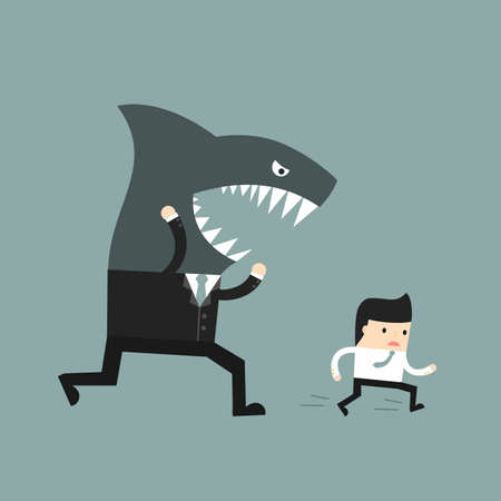resentment: Business situation. The worker runs away from a screaming boss. Vector illustration. Illustration