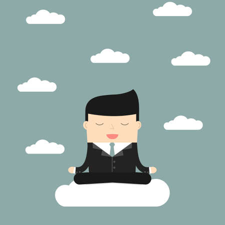 meditates: Businessman meditates sitting on a cloud. Satisfaction with the    results. Symbol of wealth and big profits. Vector illustration.