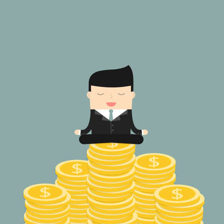meditates: Businessman meditates sitting on the money. Satisfaction with the results. Symbol of wealth and big profits. Vector illustration.