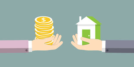 house exchange: The exchange of house on the money. Vector illustration.