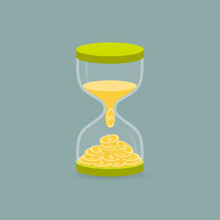 converted: Hourglass. The sand is converted into money. The concept of the transformation of time into money. Vector illustration.
