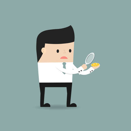 financial consultant: Businessman considers coin through a magnifying glass. The concept of a small profit.. Vector illustration.