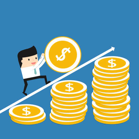 business work: Business situation. Businessman coin rolls up. The concept of a lot of work for a big profit. Vector illustration.