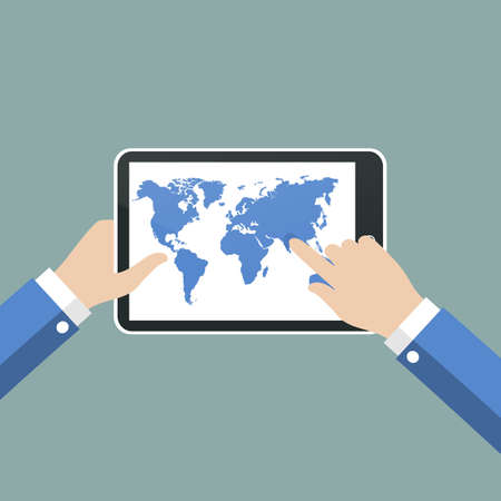 using tablet: Hands holing tablet computer with world map.  Vector illustration.