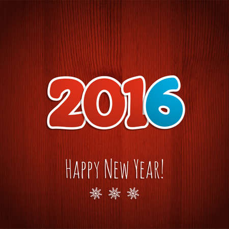 wooden cut: New year background Date 2016 on a red wooden background.  Illustration