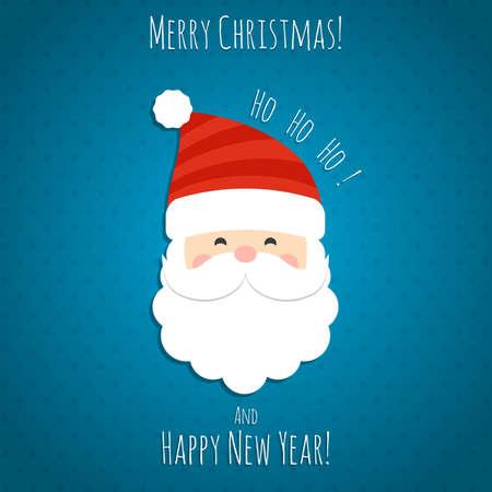 hat santa: Santa Claus head on a blue background postcard.