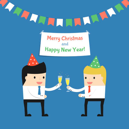 office party: Business situation.Businessman celebrates Christmas and the New Year with a colleague. Vector illustration. Illustration