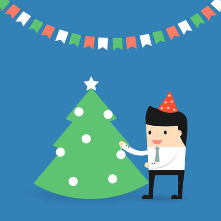 office party: Business situation. Businessman decorates a Christmas tree. Vector illustration.