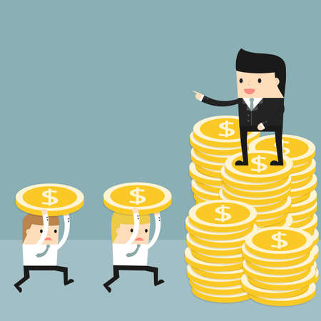 commanding: Business situation. Boss standing on a pile of coins and commanding. Employees run work. Vector illustration.