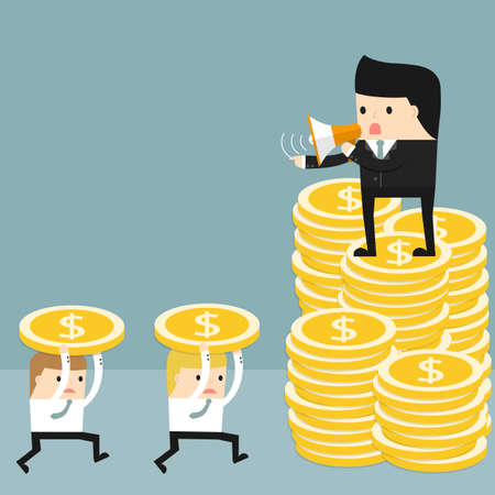 commanding: Business situation. Boss standing on a pile of coins and commanding  officers into a megaphone. Employees run work. Vector illustration.