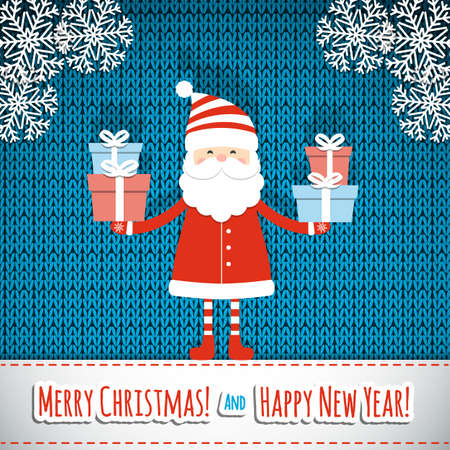 santa claus hats: Christmas card with Santa Claus. Vector illustration. Illustration