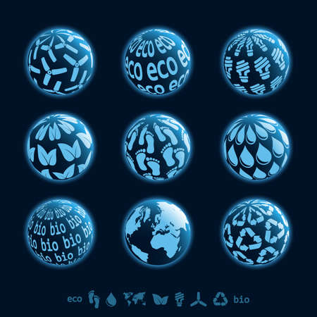 pollution free: Set of 3D eco blue planet icons Illustration