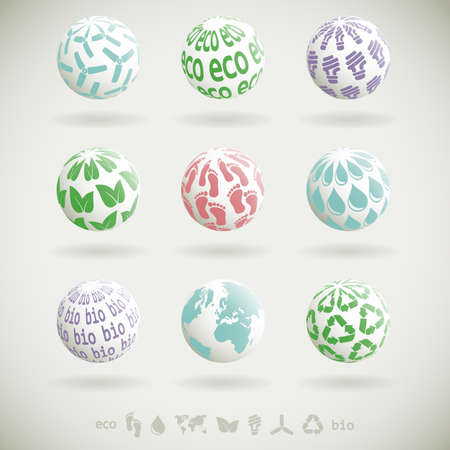 pollution free: Set of 3D icons with environmental themes Illustration