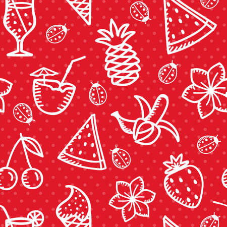 drow: Summer time seamless background with fruits and sweets