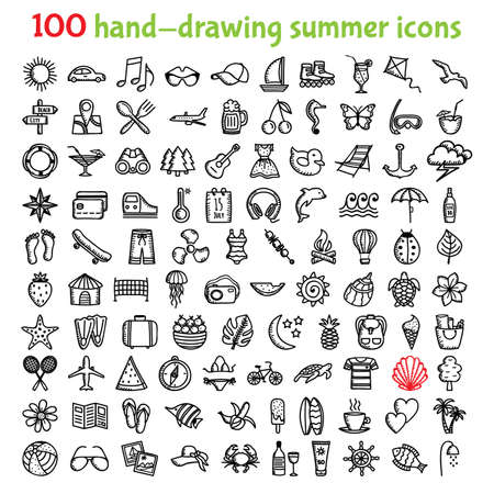 Set of hand-drawing summer time icons for web and mobile illustration.